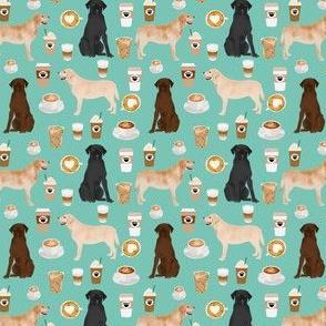 SMALL - labradors coffee fabric cute mint cafe latte labrador retriever dogs fabric cute yellow lab design