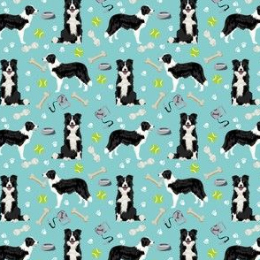 SMALL - border collie toys tennis balls light blue fabric
