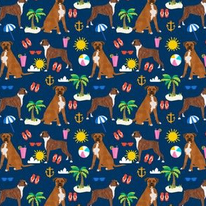 SMALL - boxer beach themed summer boxers dog breed fabric navy