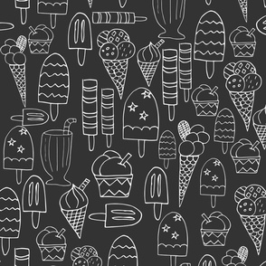Ice Cream Lollies White On Charcoal