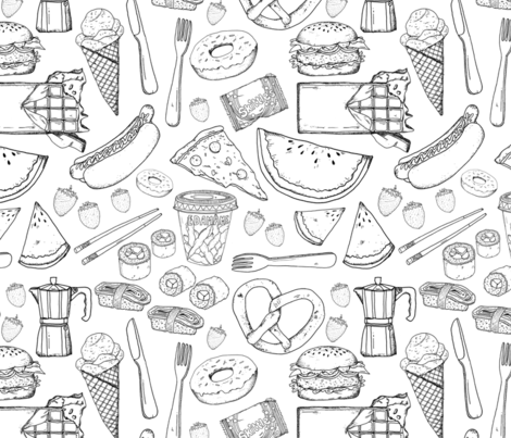 Food cravings  fabric by natdrawsthis on Spoonflower - custom fabric