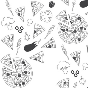 Pizza concept for coloring book