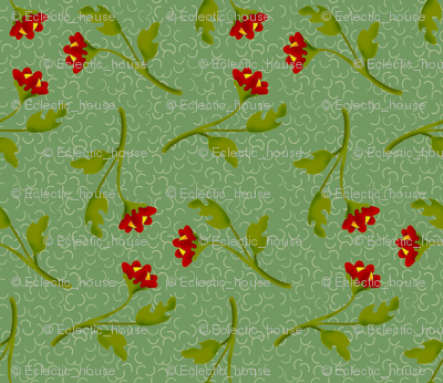 Retro Tossed Red Flower Sprigs on Green Squiggles