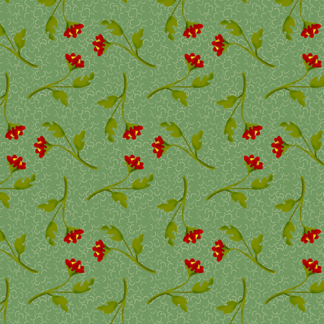 Retro Tossed Red Flower Sprigs on Green Squiggles fabric by eclectic_house on Spoonflower - custom fabric