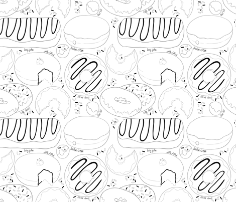 Yum-0 Donuts Black & White fabric by pipitandfox on Spoonflower - custom fabric