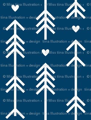 arrows and hearts navy blue