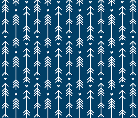 arrows and hearts navy blue fabric by misstiina on Spoonflower - custom fabric
