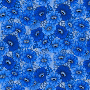 Dark blue monochrome zinnias