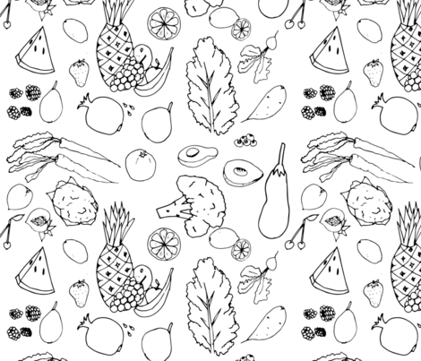 superfood-line-art fabric by phein on Spoonflower - custom fabric