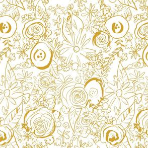 In The Garden Sketchy Floral // Mustard