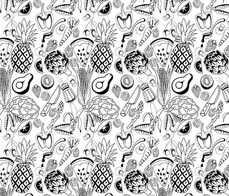 Fruit and Veg Feast fabric by ravecave on Spoonflower - custom fabric