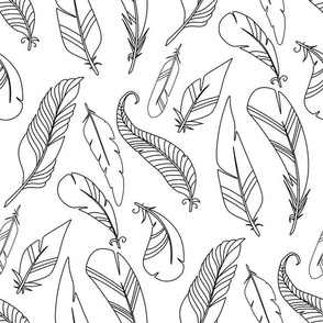 feathers coloring pattern tribal black an white design