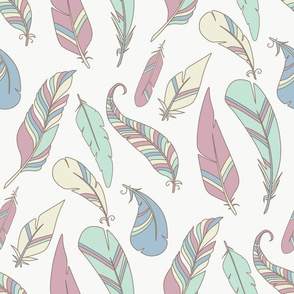 feathers coloring pattern tribal pastel design