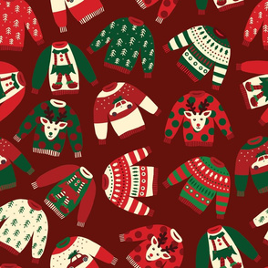 Ugly Christmas Sweaters Red Green Beige
