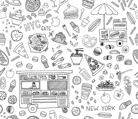 New York City Eats fabric by ldpapers on Spoonflower - custom fabric
