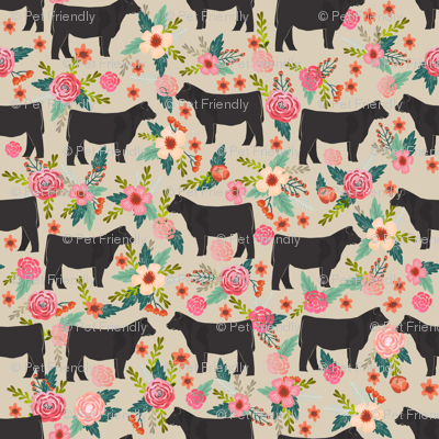 SMALL - steer floral fabric show steer cows farm barn fabric florals design - sand