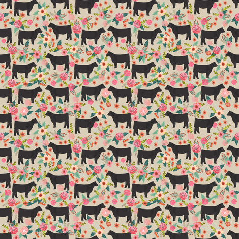 SMALL - steer floral fabric show steer cows farm barn fabric florals design - sand fabric by petfriendly on Spoonflower - custom fabric