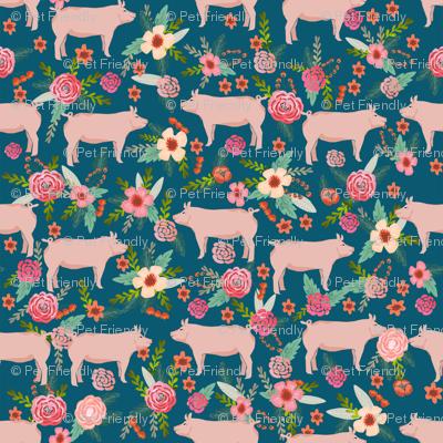 SMALL - pigs and florals fabric farmyard animals farm fabrics - sapphire