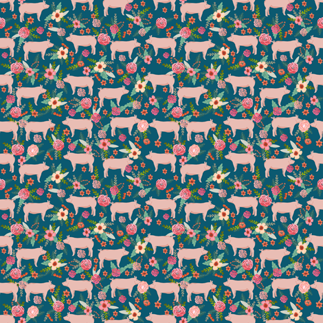 SMALL - pigs and florals fabric farmyard animals farm fabrics - sapphire fabric by petfriendly on Spoonflower - custom fabric