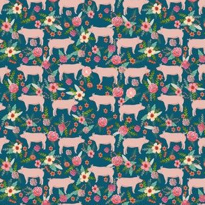 SMALL - pigs and florals fabric farmyard animals farm fabrics - sapphire