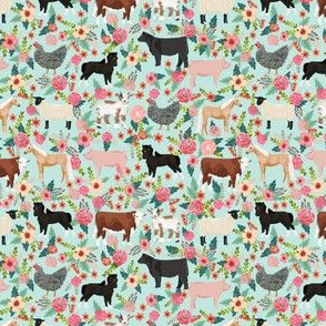 SMALL - Farm animals cow sheep goat chicken floral fabric mint