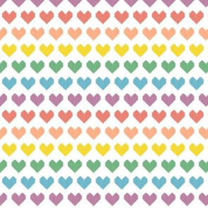 Rainbow of Hearts* || polyester jacquard double knit retro vintage 70s 1970s seventies style love 80s 1980s eighties heart children kids baby