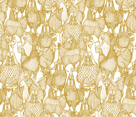 just chickens gold white fabric by scrummy on Spoonflower - custom fabric