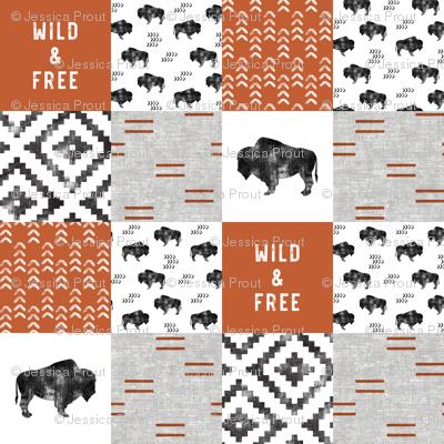 Buffalo - Wild and Free - Orange, Greige, White - boho style