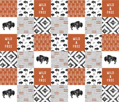 Buffalo - Wild and Free - Orange, Greige, White - boho style   fabric by littlearrowdesign on Spoonflower - custom fabric