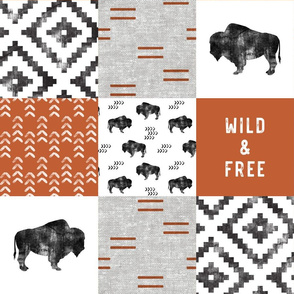 Buffalo - Wild and Free - Orange, Greige, White - boho style