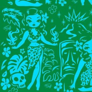 Large- Tiki Temptress-blue-green