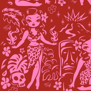 Large-Tiki Temptress -pink-red