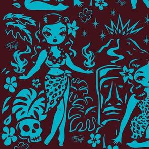 Large- Tiki Temptress- blue-brown