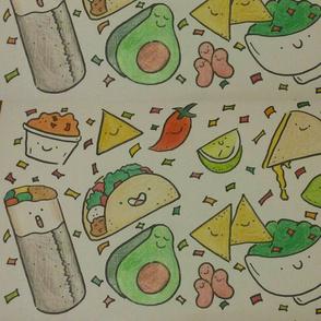 Kawaii Taco and Burrito Print- Mexican Food Favorites