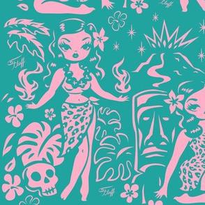 Large-Tiki Temptress- pink-turquoise