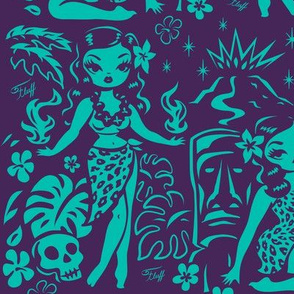Large-Tiki Temptress-teal-purple