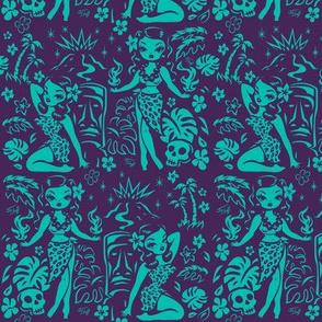 Medium-Tiki Temptress-teal-purple