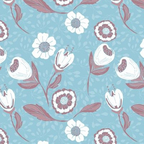 Spring garden in light blue and burgundy