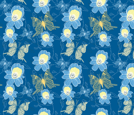 Go Tropical Blue Orchids and butterflies fabric by jac_slade on Spoonflower - custom fabric