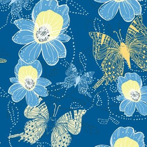 Go Tropical Blue Orchids and butterflies