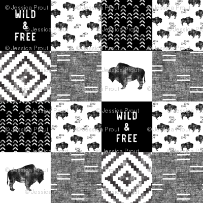 Buffalo - Wild and Free - Black, Grey, White - boho style