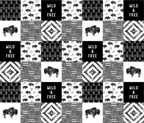Buffalo - Wild and Free - Black, Grey, White - boho style  fabric by littlearrowdesign on Spoonflower - custom fabric