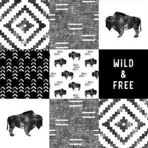 Buffalo - Wild and Free - Black, Grey, White - boho style