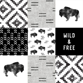 Buffalo - Wild and Free - Black, Greige, White - boho style
