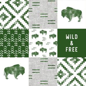 Buffalo - Wild and Free - Green, Greige, White - boho style