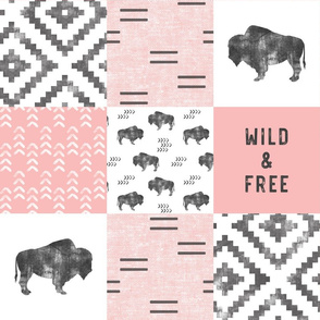 Buffalo - Wild and Free - Pink, Grey, White - boho style