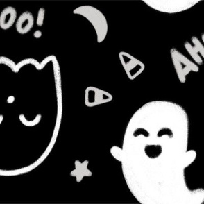 "Larger Scale ""Happy Halloween"" (for Halloween w/ Stars, Moon, Candy Corn and Cute Ghosts)"