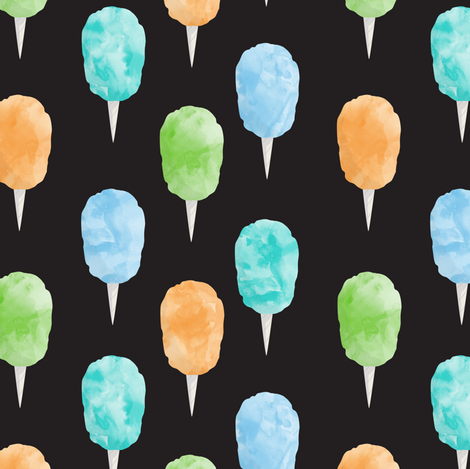 cotton candy (blue and green on dark grey) - carnival food C18BS fabric by littlearrowdesign on Spoonflower - custom fabric