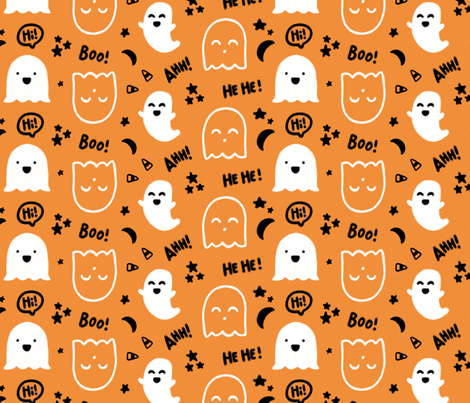 """""""Happy Ghosts"""" for Halloween (Candy Corn, Stars, Moon, Happy Ghost) fabric by sweeterthanhoney on Spoonflower - custom fabric"""