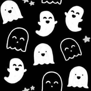 """Happy Ghosts"" Black and White for Hallloween"